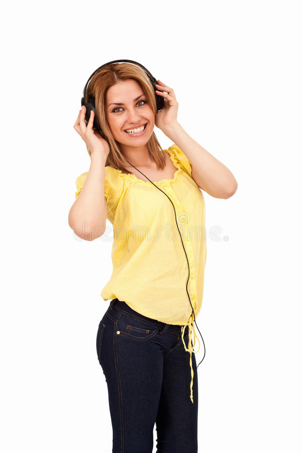 χαμόγελο ακουστικών κο στοκ εικόνα