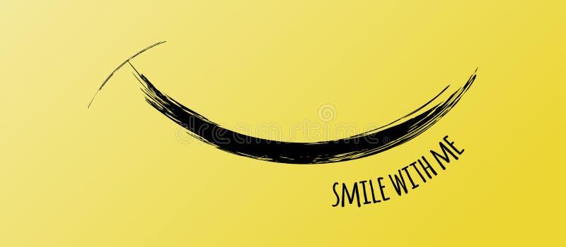 Χαμόγελο από το αστείο κτύπημα βουρτσών, διανυσματικό οριζόντιο έμβλημα ελεύθερη απεικόνιση δικαιώματος