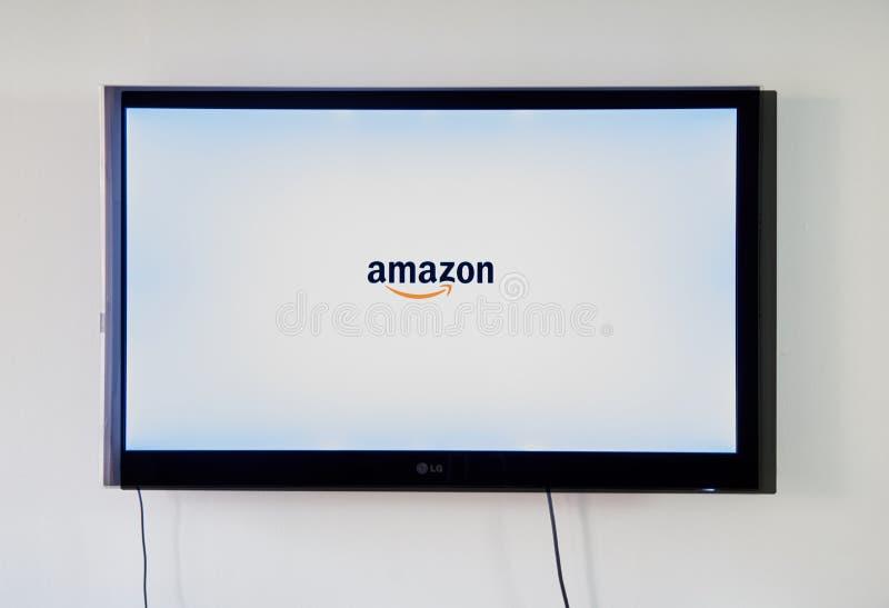 Χαμόγελο λογότυπων του Αμαζονίου στη TV LG στοκ φωτογραφία με δικαίωμα ελεύθερης χρήσης