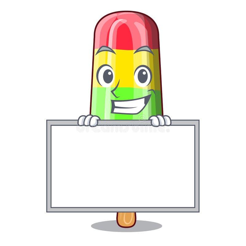 Χαμόγελο με τα ζωηρόχρωμα ραβδιά παγωτού πινάκων στα κινούμενα σχέδια διανυσματική απεικόνιση