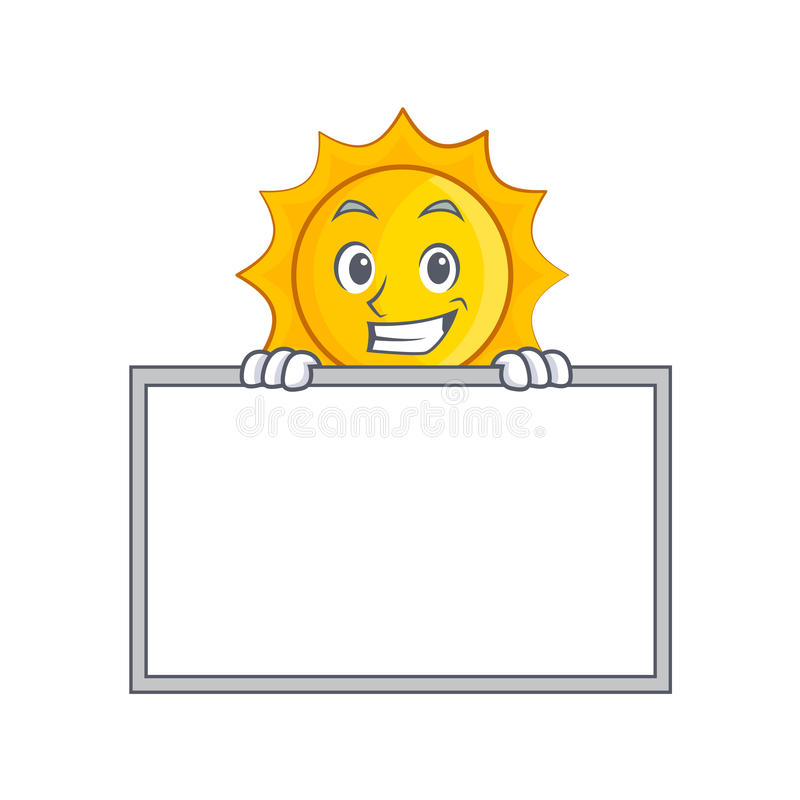 Χαμόγελο με τα χαριτωμένα κινούμενα σχέδια χαρακτήρα ήλιων πινάκων ελεύθερη απεικόνιση δικαιώματος