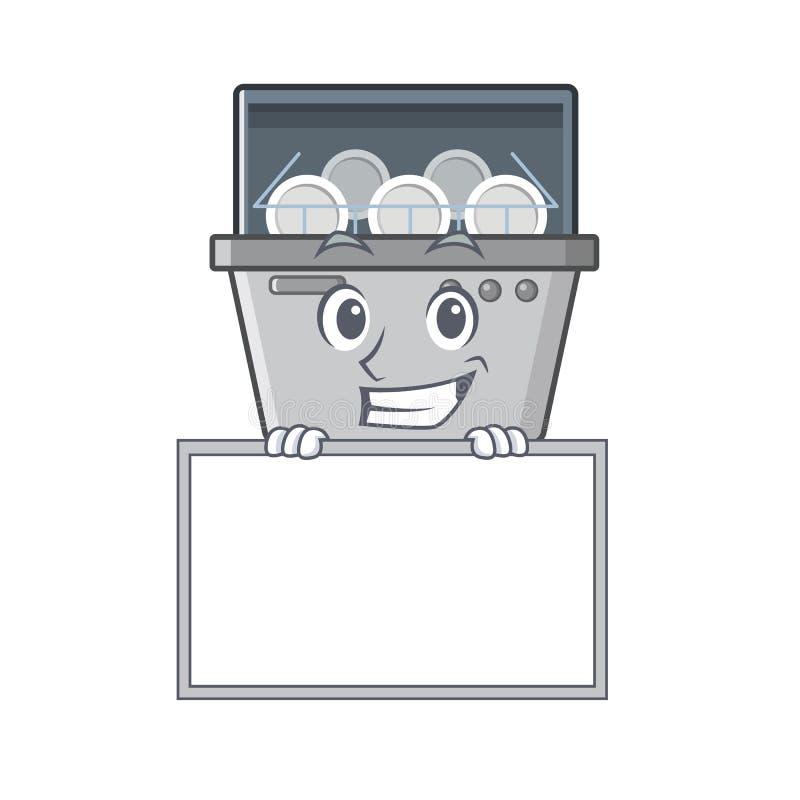 Χαμόγελο με τη μηχανή πλυντηρίων πιάτων μασκότ πινάκων στην κουζίνα απεικόνιση αποθεμάτων