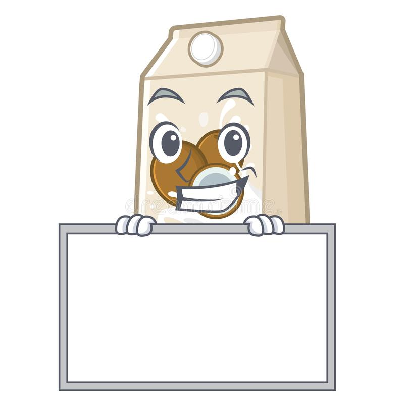 Χαμόγελο με το γάλα καρύδων πινάκων σε ένα μπουκάλι κινούμενων σχεδίων ελεύθερη απεικόνιση δικαιώματος