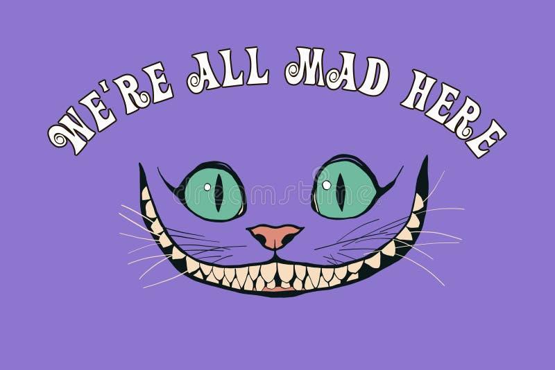 Χαμόγελο μιας γάτας Τσέσαϊρ για την ιστορία Alice στη χώρα των θαυμάτων διανυσματική απεικόνιση