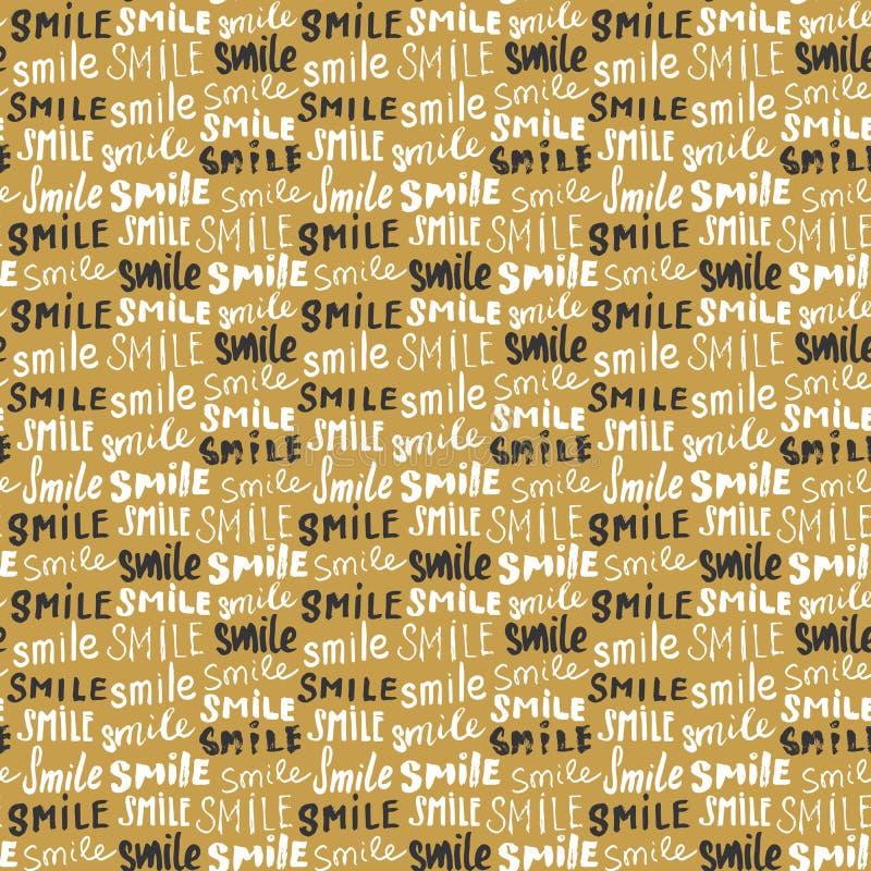 Χαμόγελο που γράφει το άνευ ραφής σχέδιο Το χέρι που σύρθηκε σκιαγράφησε τα καλλιγραφικά σημάδια, grunge κατασκευασμένο αναδρομικ διανυσματική απεικόνιση