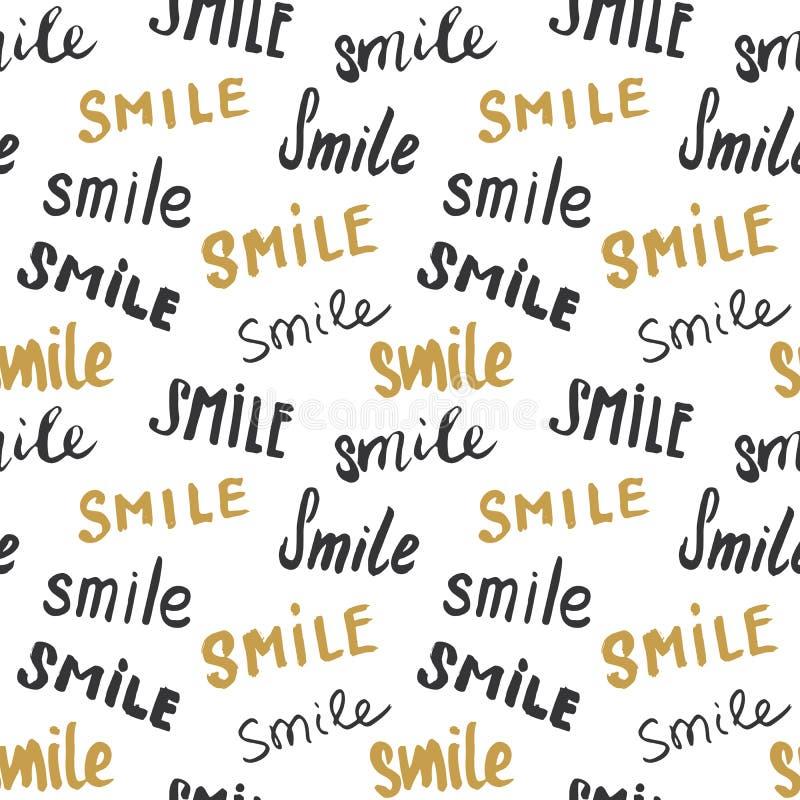 Χαμόγελο που γράφει το άνευ ραφής σχέδιο Το χέρι που σύρθηκε σκιαγράφησε τα καλλιγραφικά σημάδια, grunge κατασκευασμένο αναδρομικ ελεύθερη απεικόνιση δικαιώματος