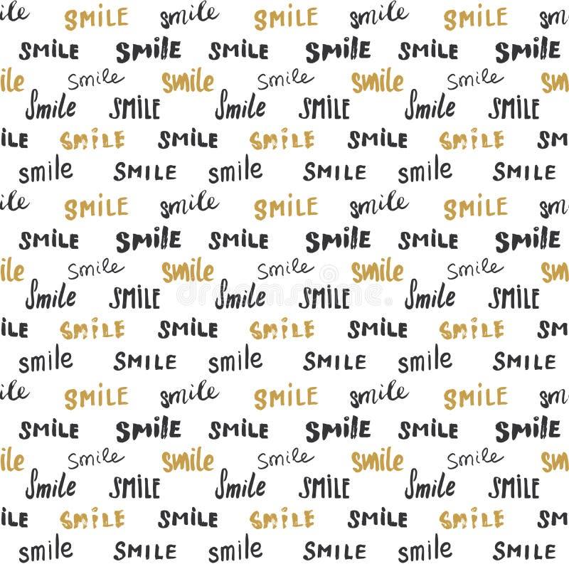Χαμόγελο που γράφει το άνευ ραφής σχέδιο Το χέρι που σύρθηκε σκιαγράφησε τα καλλιγραφικά σημάδια, grunge κατασκευασμένο αναδρομικ απεικόνιση αποθεμάτων