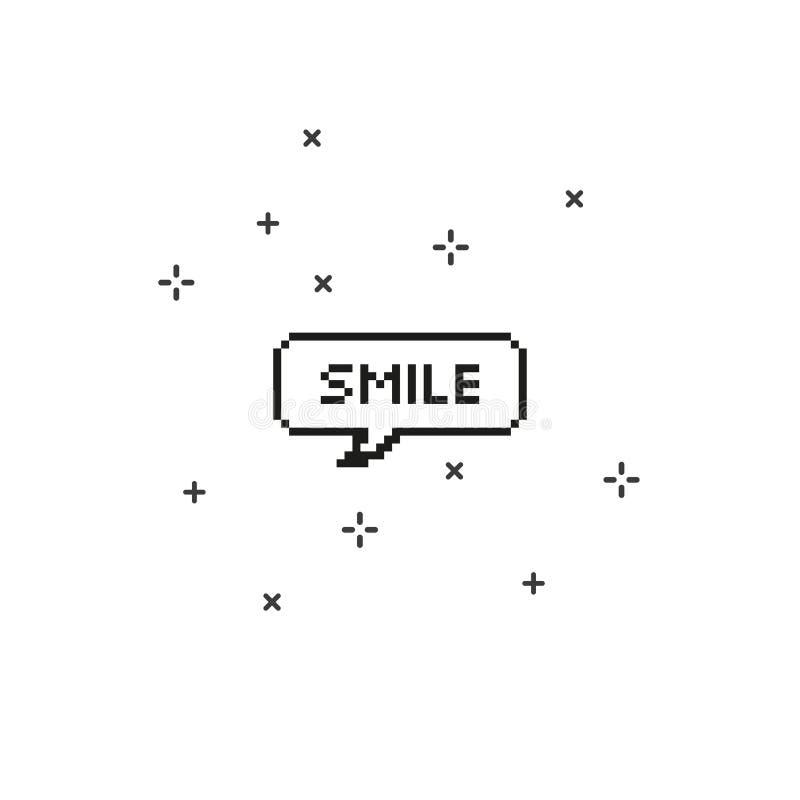 Χαμόγελο στην οκτάμπιτη τέχνη εικονοκυττάρου λεκτικών φυσαλίδων διανυσματική απεικόνιση
