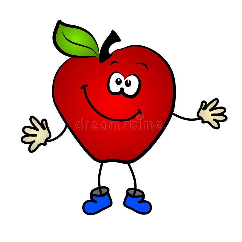 χαμόγελο συνδετήρων κινούμενων σχεδίων τέχνης μήλων ελεύθερη απεικόνιση δικαιώματος