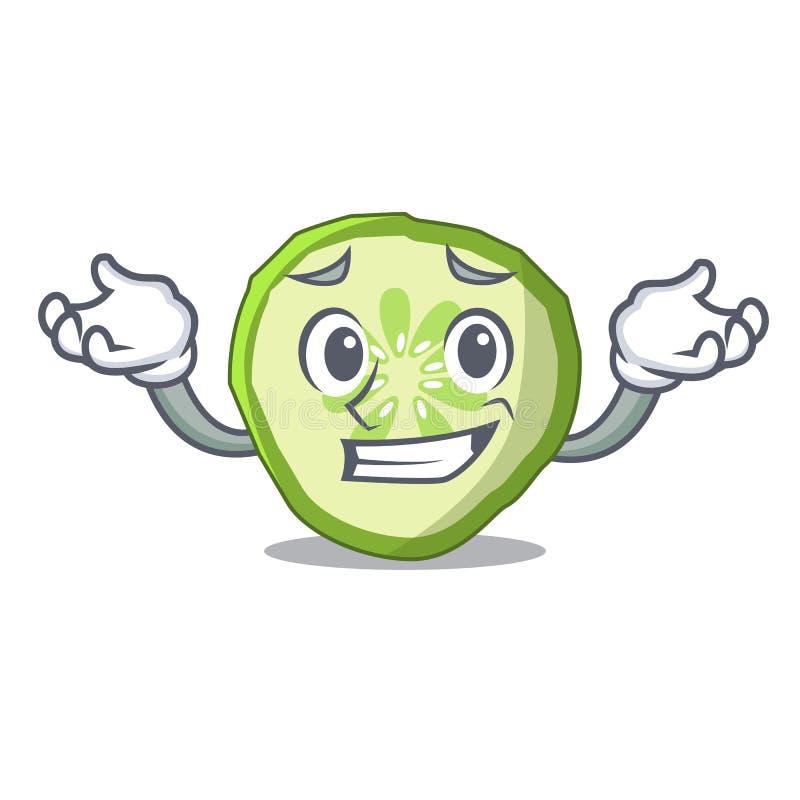 Χαμόγελο τεμαχισμένα κινούμενα σχέδια χαρακτήρα συστατικών χάμπουργκερ αγγουριών διανυσματική απεικόνιση