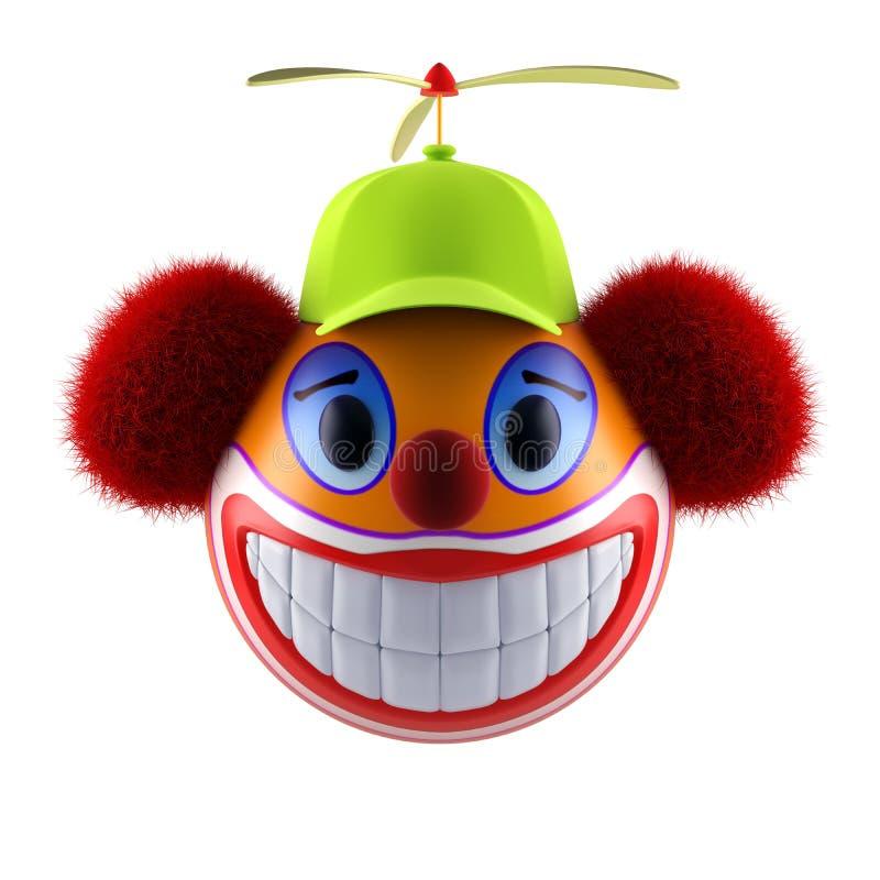Χαμόγελο της σφαίρας προσώπου κλόουν emoticon με το αστείο καπέλο του μπέιζμπολ απεικόνιση αποθεμάτων