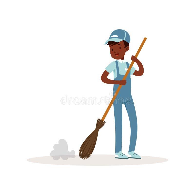 Χαμόγελο του αφροαμερικανός σκουπίζοντας πατώματος παιδιών με τη σκούπα Νέος εθελοντής στην εργασία Αγόρι εφήβων στο μπλε που εργ απεικόνιση αποθεμάτων