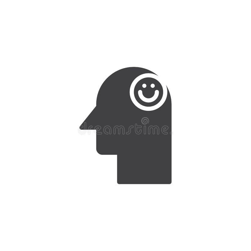 Χαμόγελο emoticon στο ανθρώπινο επικεφαλής διανυσματικό εικονίδιο απεικόνιση αποθεμάτων