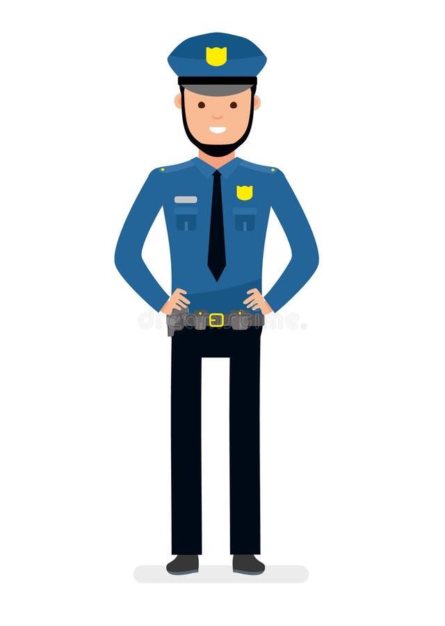 χαμόγελο αστυνομικών Απομονωμένος στο άσπρο κλίμα διανυσματική απεικόνιση