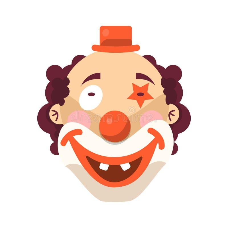 Χαμόγελο προσώπου κλόουν στην περούκα και τα γενέθλια ΚΑΠ Απομονωμένο διάνυσμα εικονίδιο του αστείου κωμικού ατόμου τσίρκων κινού διανυσματική απεικόνιση