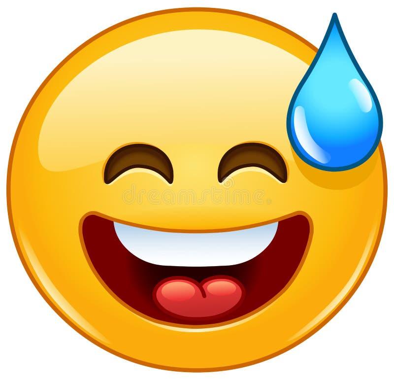 Χαμόγελο emoticon με το ανοικτό στόμα και τον κρύο ιδρώτα ελεύθερη απεικόνιση δικαιώματος