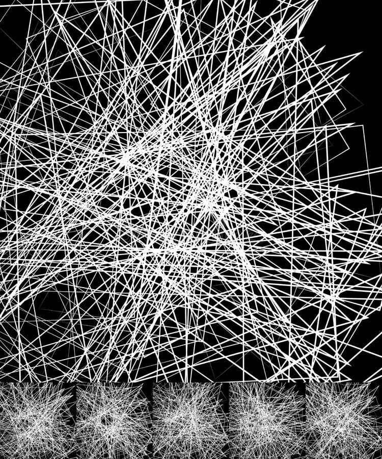 Χαοτικές ανώμαλες, τυχαίες, διεσπαρμένες γραμμές καλλιτεχνικό γεωμετρικό im διανυσματική απεικόνιση