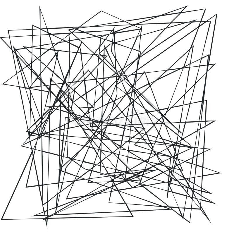 Χαοτικές τυχαίες, ανώμαλες, νεβρικές γραμμές Αφηρημένο γεωμετρικό υπόβαθρο με τις σπασμένες καμπύλες για τη δημιουργία των συστάσ ελεύθερη απεικόνιση δικαιώματος