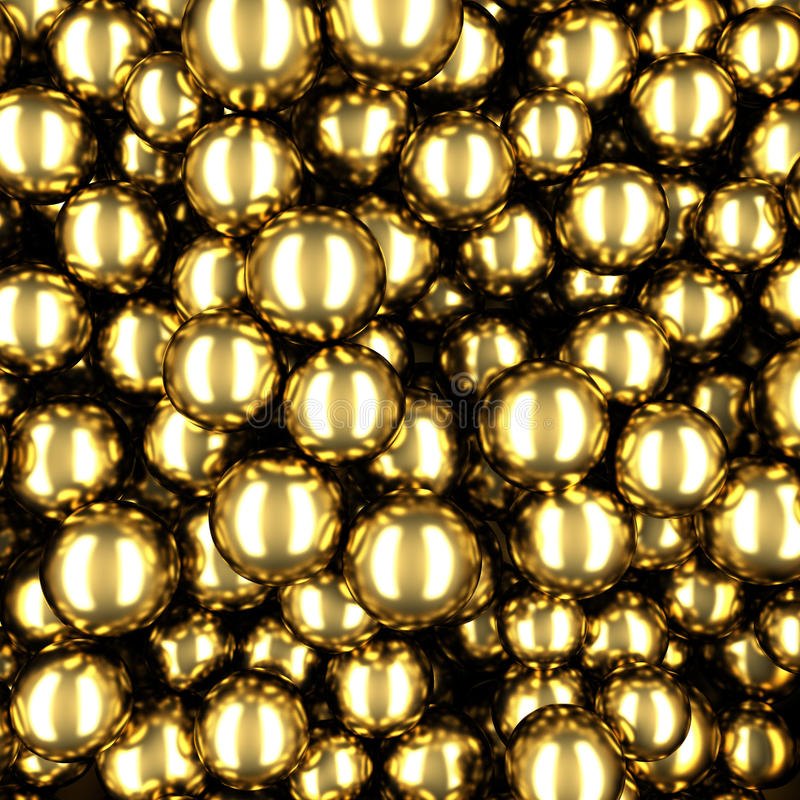 Χαοτικό χρυσό αφηρημένο υπόβαθρο σφαιρών σφαιρών απεικόνιση αποθεμάτων