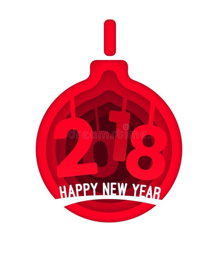 Χαράζοντας σφαίρα Χριστουγέννων έννοιας σχεδίου ύφους σχεδίου τέχνης εγγράφου με τους αριθμούς 2018 έτη για την κάρτα Χριστουγένν ελεύθερη απεικόνιση δικαιώματος