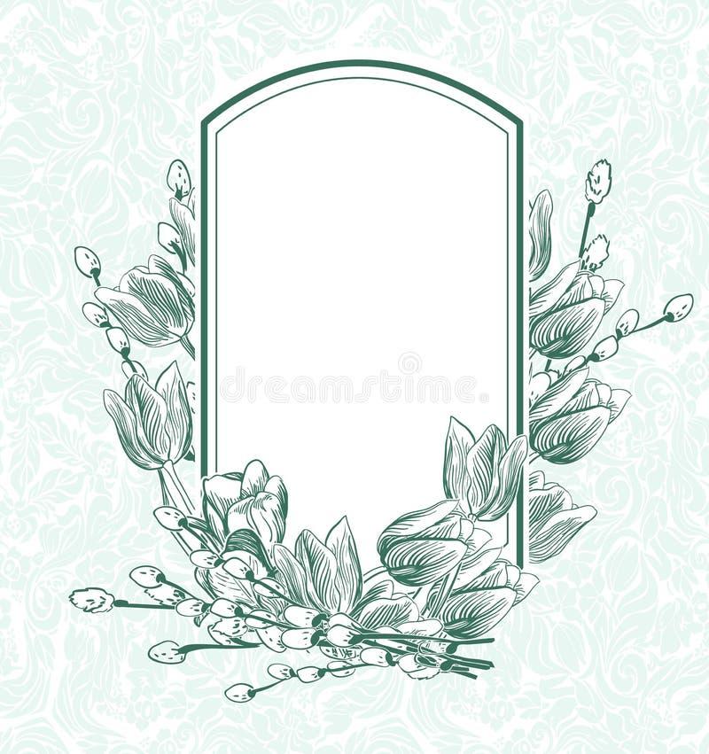 Χαράξτε το διανυσματικό σχέδιο τουλιπών πλαισίων λουλουδιών monichrome διανυσματική απεικόνιση
