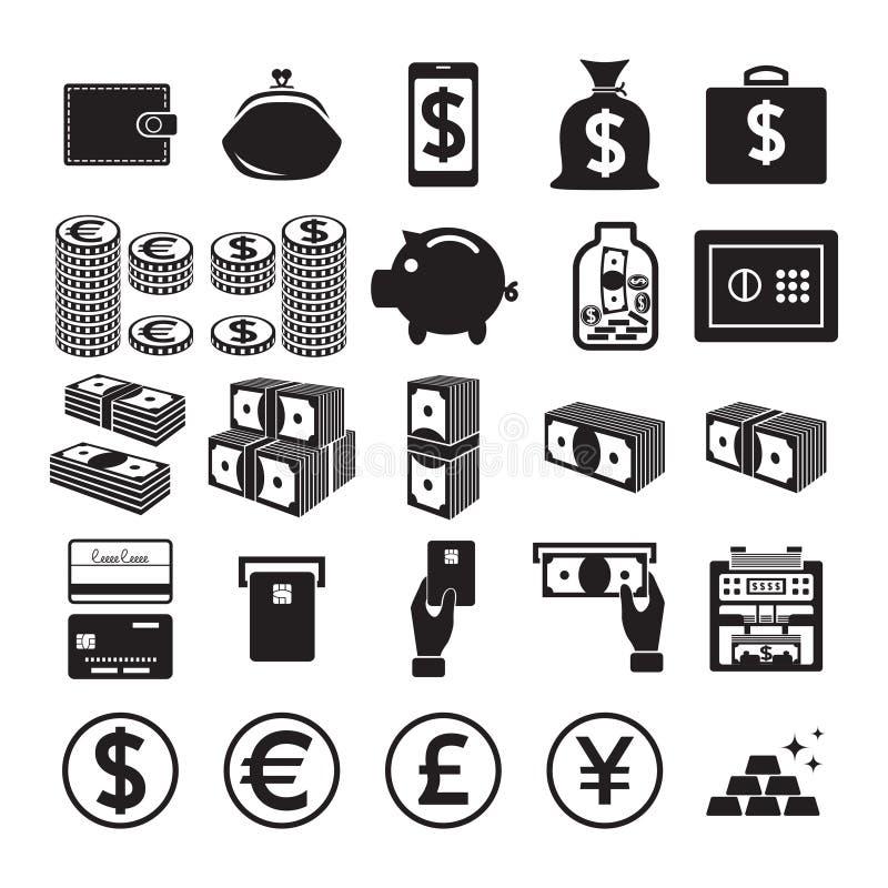 χαράσσοντας εκκολαμμένο εικονιδίων απεικόνισης διάνυσμα ύφους χρημάτων καθορισμένο διανυσματική απεικόνιση