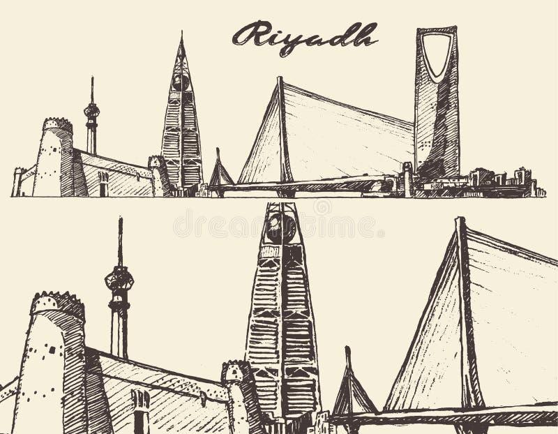 Χαραγμένο διανυσματικό ορίζοντας συρμένο χέρι σκίτσο του Ριάντ διανυσματική απεικόνιση
