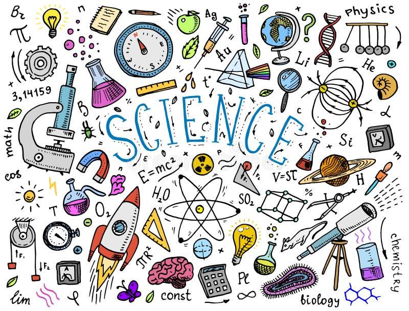 χαραγμένο χέρι που σύρεται στο παλαιό σκίτσο και το εκλεκτής ποιότητας ύφος επιστημονικοί τύποι και υπολογισμοί στη φυσική και τα ελεύθερη απεικόνιση δικαιώματος