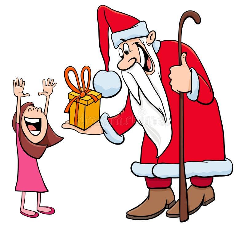 Χαρακτήρας Άγιου Βασίλη με το μικρό κορίτσι διανυσματική απεικόνιση