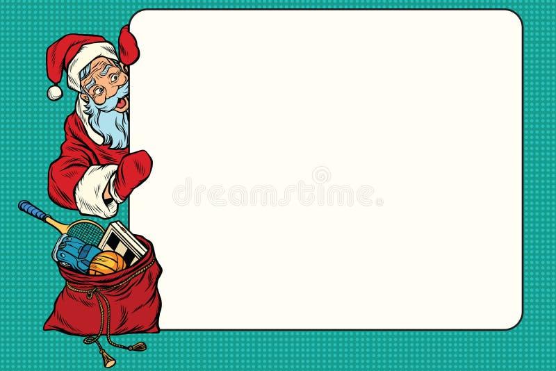 Χαρακτήρας Άγιου Βασίλη κινούμενων σχεδίων που παρουσιάζει κενό σημάδι διανυσματική απεικόνιση