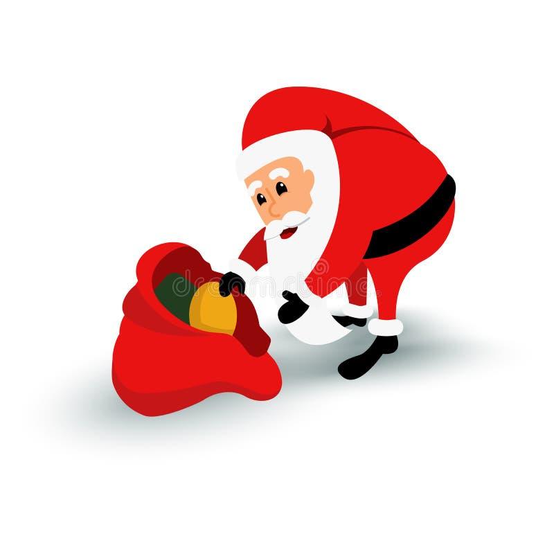 Χαρακτήρας Άγιου Βασίλη Χριστουγέννων με την τσάντα δώρων Γενειοφόρο άτομο κινούμενων σχεδίων στο εορταστικό κοστούμι Διανυσματικ διανυσματική απεικόνιση