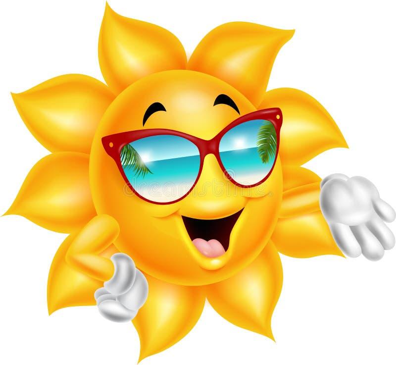 Χαρακτήρας ήλιων κινούμενων σχεδίων κινούμενων σχεδίων που φορά τα γυαλιά ηλίου απεικόνιση αποθεμάτων