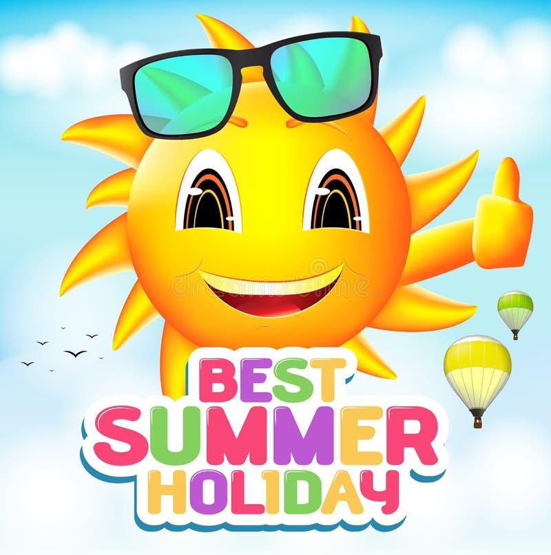 Χαρακτήρας ήλιων που φορά τα γυαλιά ηλίου με τις καλύτερες καλοκαιρινές διακοπές διανυσματική απεικόνιση