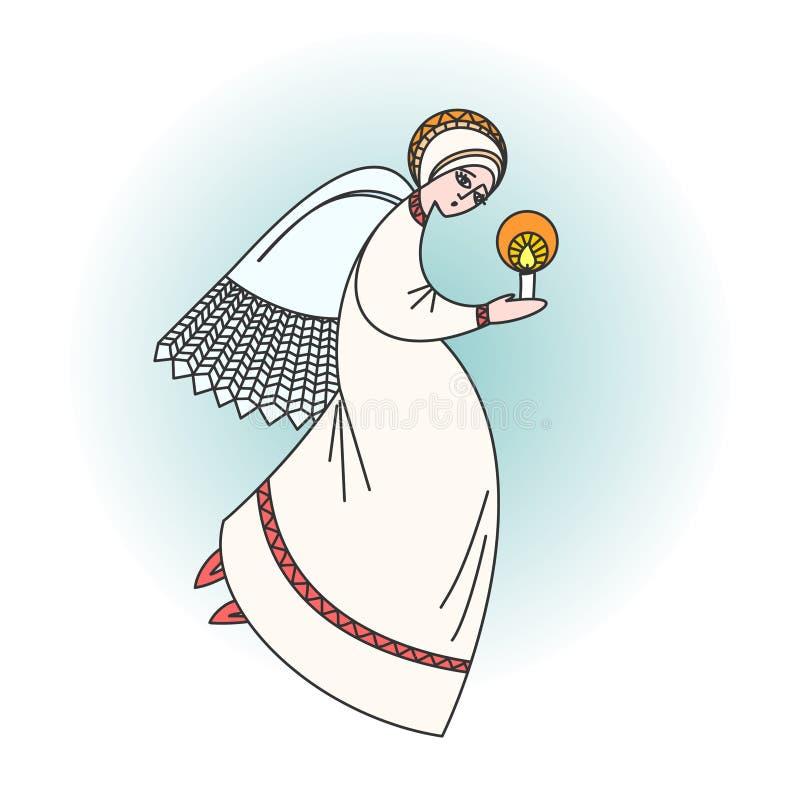 Χαρακτήρας αγγέλου που προσεύχεται με ένα κερί στα χέρια Απεικόνιση αποθεμάτων στις θρησκευτικές περιπτώσεις διανυσματική απεικόνιση