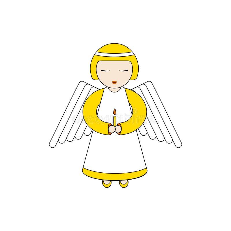 Χαρακτήρας αγγέλου που προσεύχεται με ένα κερί απεικόνιση αποθεμάτων