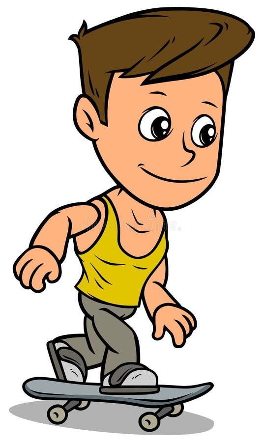 Χαρακτήρας αγοριών κινούμενων σχεδίων που οδηγά skateboard ελεύθερη απεικόνιση δικαιώματος
