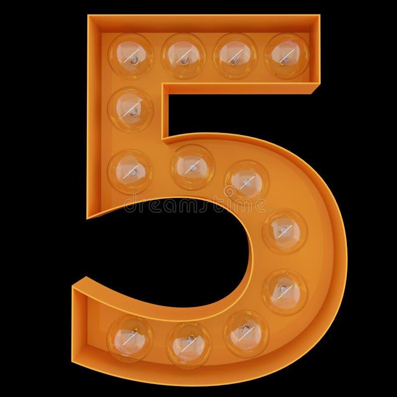 Χαρακτήρας 5 αλφάβητου ψηφίων λαμπών φωτός πηγή πέντε Φωτισμένος αριθμός 1 μπροστινής άποψης σύμβολο στο μαύρο υπόβαθρο τρισδιάστ διανυσματική απεικόνιση