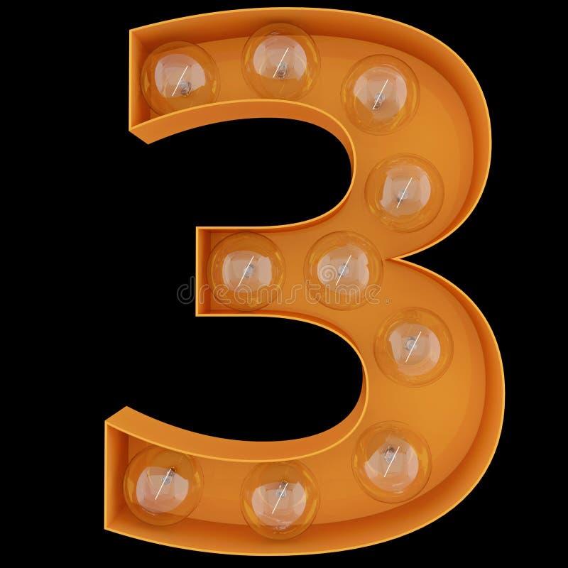 Χαρακτήρας 3 αλφάβητου ψηφίων λαμπών φωτός πηγή τρία Φωτισμένος αριθμός 1 μπροστινής άποψης σύμβολο στο μαύρο υπόβαθρο τρισδιάστα ελεύθερη απεικόνιση δικαιώματος