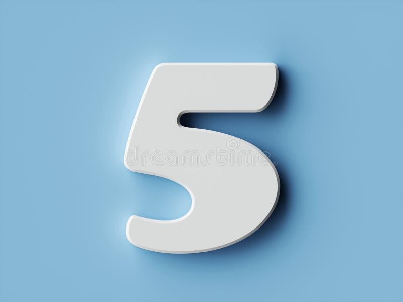Χαρακτήρας 5 αλφάβητου ψηφίων της Λευκής Βίβλου πηγή πέντε διανυσματική απεικόνιση