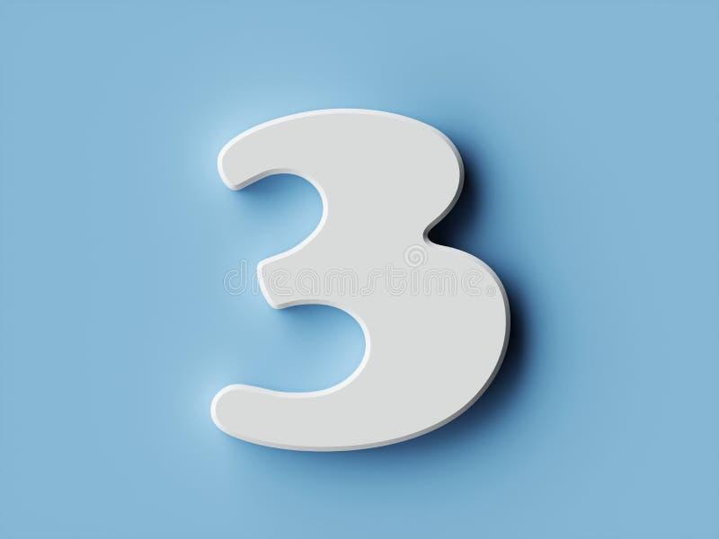 Χαρακτήρας 3 αλφάβητου ψηφίων της Λευκής Βίβλου πηγή τρία διανυσματική απεικόνιση