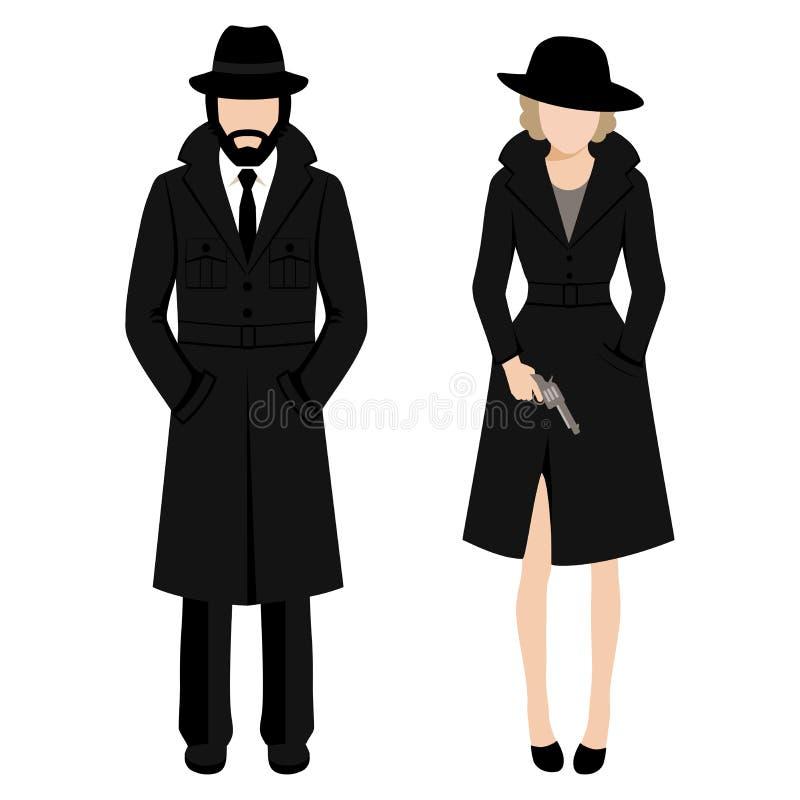 Χαρακτήρας ανδρών και γυναικών κατασκόπων ιδιωτικών αστυνομικών ιδιωτικός πράκτορας ivestigation Γκάγκστερ μαφίας διανυσματική απεικόνιση