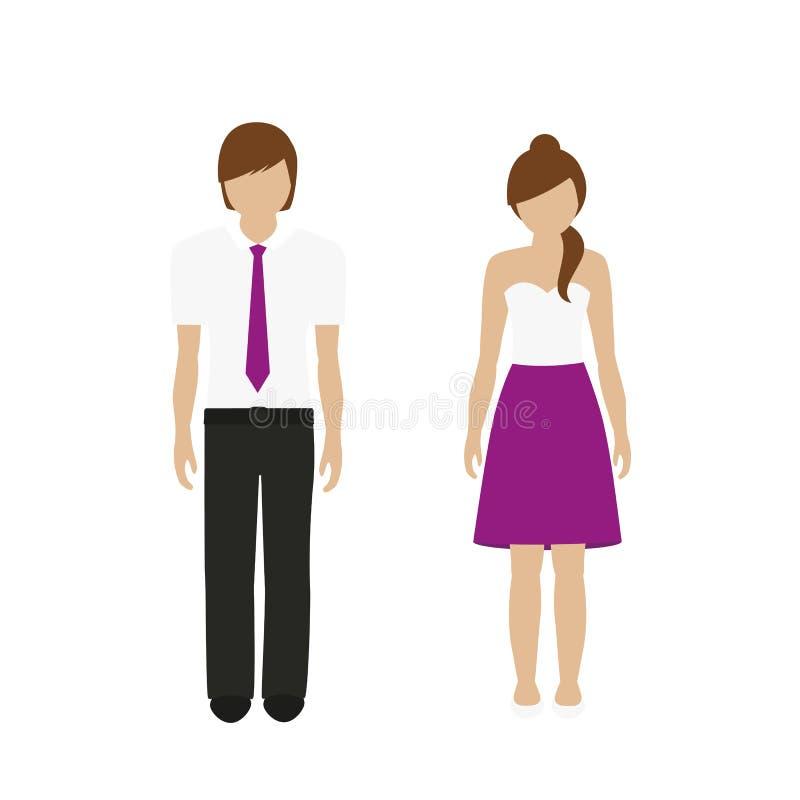Χαρακτήρας ανδρών και γυναικών σε μια κομψή θερινή εξάρτηση διανυσματική απεικόνιση