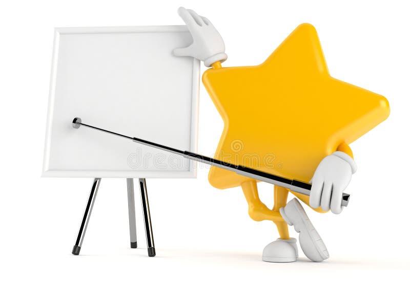Χαρακτήρας αστεριών με το κενό whiteboard διανυσματική απεικόνιση