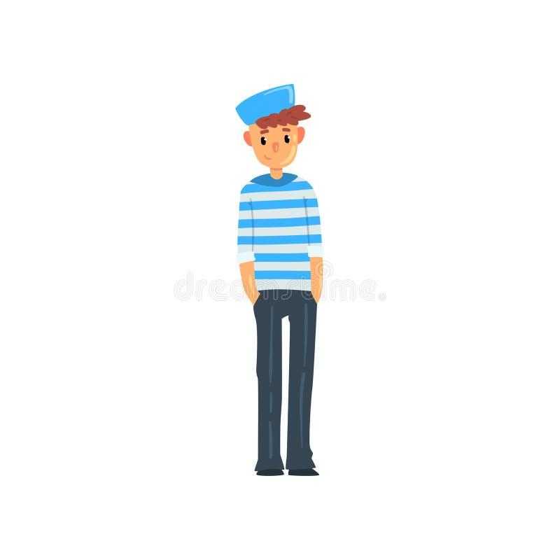 Χαρακτήρας ατόμων ναυτικών στη ριγωτή φανέλα και διανυσματική απεικόνιση ΚΑΠ σε ένα άσπρο υπόβαθρο ελεύθερη απεικόνιση δικαιώματος