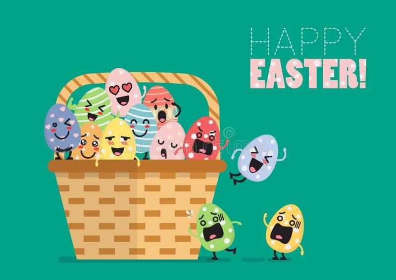 Χαρακτήρας αυγών Πάσχας στο καλάθι διανυσματική απεικόνιση