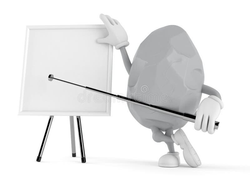 Χαρακτήρας βράχου με το κενό whiteboard απεικόνιση αποθεμάτων