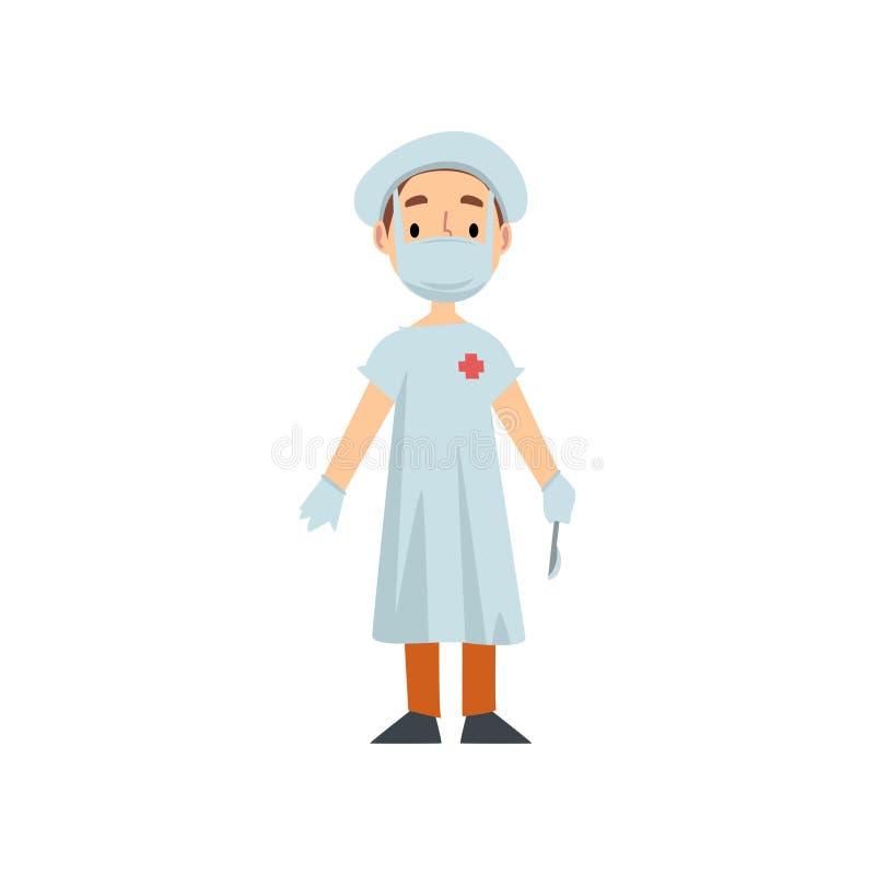 Χαρακτήρας γιατρών κοριτσιών στο άσπρο παλτό με το χειρουργικό νυστέρι, παιδί που ονειρεύεται τη μελλοντική διανυσματική απεικόνι ελεύθερη απεικόνιση δικαιώματος