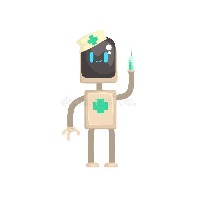 Χαρακτήρας γιατρών ρομπότ, αρρενωπός με τη σύριγγα στη διανυσματική απεικόνιση κινούμενων σχεδίων χεριών του διανυσματική απεικόνιση