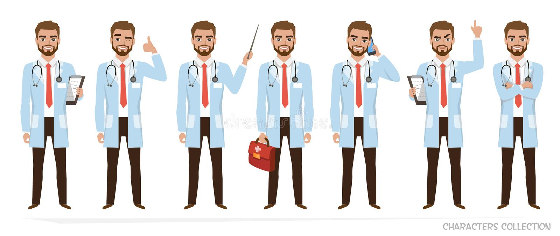 Χαρακτήρας γιατρών - το σύνολο θέτει ελεύθερη απεικόνιση δικαιώματος