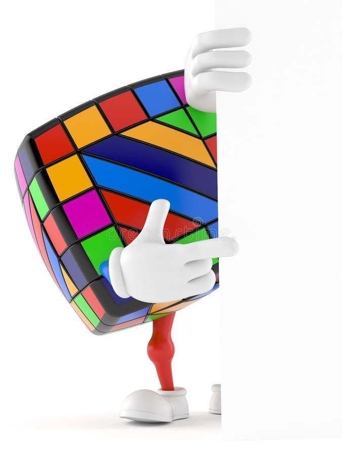 Χαρακτήρας γρίφων παιχνιδιών πίσω από τον άσπρο τοίχο ελεύθερη απεικόνιση δικαιώματος